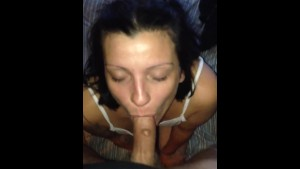 My hot cocksucking girlfriend pretending to not wanting to suck my cock...