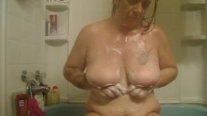 washing my big tits UNCUT