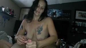 Handjob, doggystyle fuck, I cum, he cums on my asshole, I rub my wet pussy