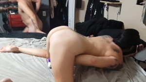 Anal cream-pie, I squirt the cum from my ass into his mouth, he swallows it
