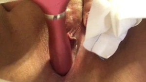 Wife masturbating and teasing her creamy pussy for me.
