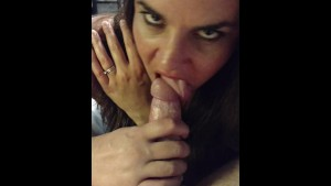 Slut wife Becky sucks dick till cum drips from her mouth...