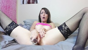 Brunette Girlfriend Fucks Pussy With Glass Toy