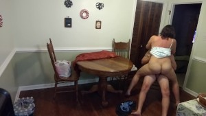 Sexy Milf in a sundress gets fucked and creampied on the dining table...