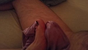 Foot job with purple satin panties and cumshot