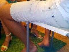 : SURPRISE! Sexy Footjob Under The Table