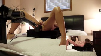 TANNED MILF FUCKS THICK BLACK DILDO ON FUCK MACHINE - ORGASMS 2 CAM VIEWS