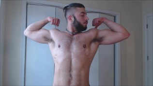 Hairy Muscled Stud Shows Off Chest, Biceps And Armpits