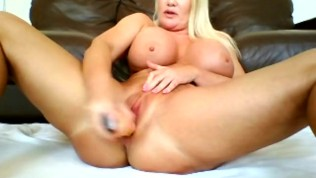 Blonde babe fucks her squelchy wet pussy deep with 10 inch dildo hot audio
