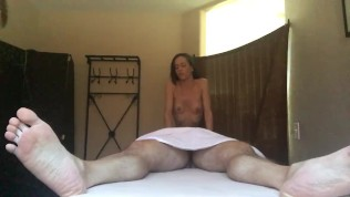 Oil bikini handjob