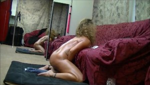 Hot brunette milf cums hard riding big dildo
