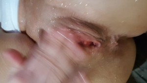 Close up Glass Dildo to Ass with Extreme Squirting!