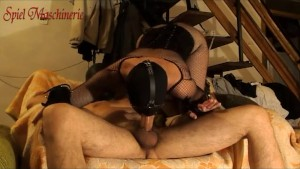 Ring gagged slut roughly throatfucked with big fat dick all the way down
