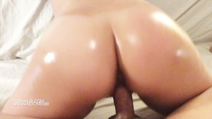 Stunning asian ass gets oiled up & double creampied