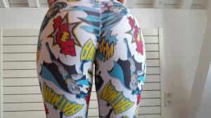 She shows her hot juicy big ass in see thru batman leggings