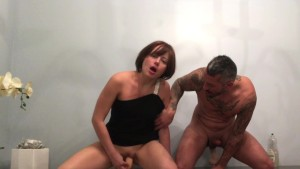 Playing with dildos, blowjob and cleaning his cum