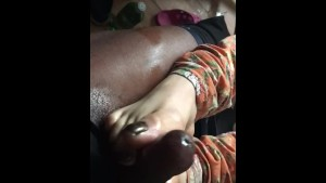 Asian chick gives me a footjob part 1 ...cum scene will be private