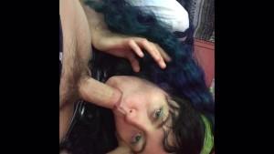 Blue Haired School Girl Blow Job & 69