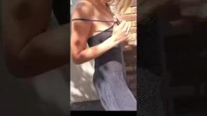 walking and flashing in the streets - sexy girlfriend leolulu