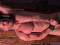 Uncut Muscle Jock Cums After Brutal Whipping & Stretching - DreamBoyBondage