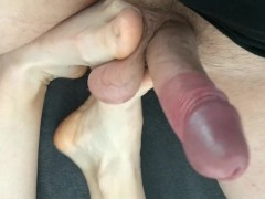Amateur footjob #8 with ballbusting, kicking and cum