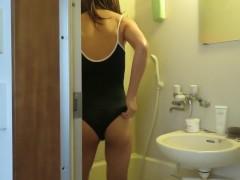 Japanese crossdresser wore swimsuit and masturbation.