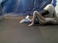 crocodile zentai struggles against masked dummy wrestler