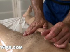 GAYWIRE - Hunk Gets Sensual Rub Down From Hot Muscle Daddy