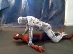 scary horny zentai spider vs spiderman
