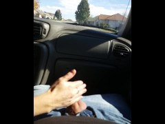 stroking cock in car while GF drives