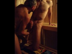 Older Younger Sauna Suck, Finger and Fuck (Daddy Son)