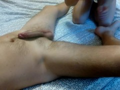 Amazing blowjob, footjob and handjob, she licks my feet, she makes me cum