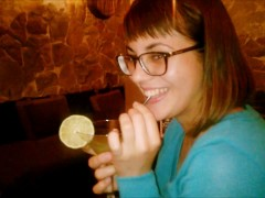 Public Blowjob in the bar - cocktail with cum