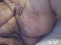 Shaving ssbbw wife's hairy pussy