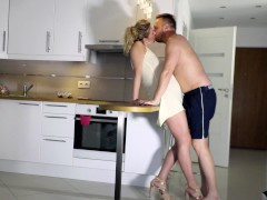 Passionate real amateur sex in the kitchen and finish on the shower CUMKISS