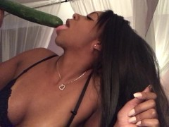 Food Sex - Sloppy Blowjob - Sucking Cucumbers - Spitting - EbonyLovers