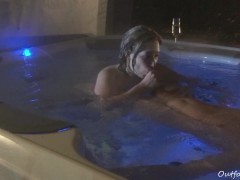 underwater blowjob and fucking in jacuzzi with cumspray outdoor