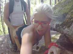 Young Girl is Caught during fucking by a peeper in forest in all 3 holes