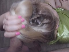 Stroking long hair,hairjob ,hair, fingering,cumming on hair