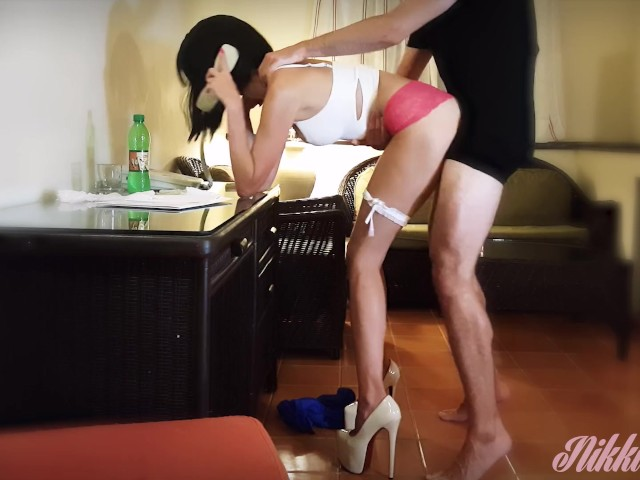 Nikki the Slutty Personal Assistant in Tiny Short and Super High Heels