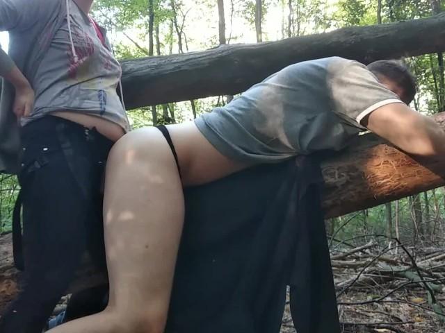 Public Strapon Pegging Femdom by Pregnant Teen Misstress