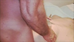 Muscle woman orgasms while...