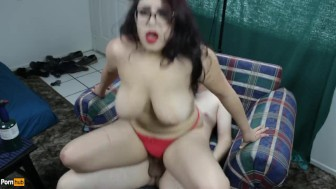 Daisy Dabs gets high while bent over chair in red thong and creampied