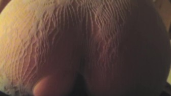 Wife in White Lace Body Socking Riding for Creampie