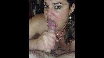 Cocksucking whore eats cum before bed...