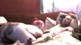 Tattooed Couple Deepthroat Blowjob & Dick Riding (Webcam Video)
