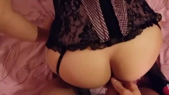 Teen amateur couple homemade doggystyle anal and blowjob