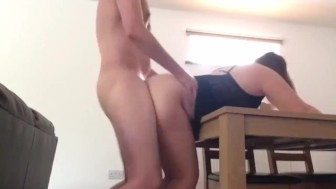 British amateur wife gets her ass covered in cum in quick table fuck