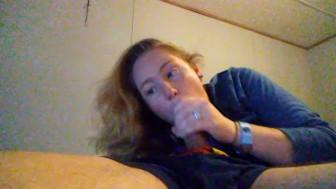 Amazing deepthroat blowjob from hot girl