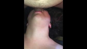 Big tit girlfriend loves my dick in her throat